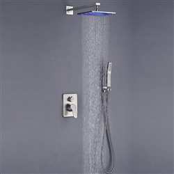 brushed nickel wall mounted thermostatic mixer shower set