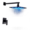 Oil Rubbed Bronze 16 Inch Bathroom Rain Shower Faucet Set With LED Color