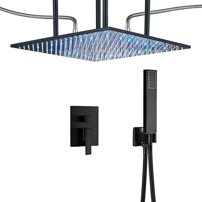 Luna Modern Design Oil Rubbed Bronze Square Color Changing LED Rain on