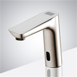 New Digital Display Brushed Nickel Commercial Automatic Touch Free Motion Sensor Faucet