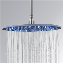 20 inch Brushed Nickle round led rainfall showerhead