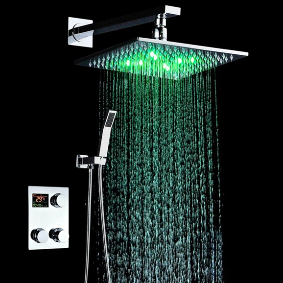 Led Shower Head Color Changing With Thermostatic Digital Mixing Valve