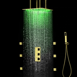 Fontana Gold Finish Square Multi-Color LED Rain Shower Set