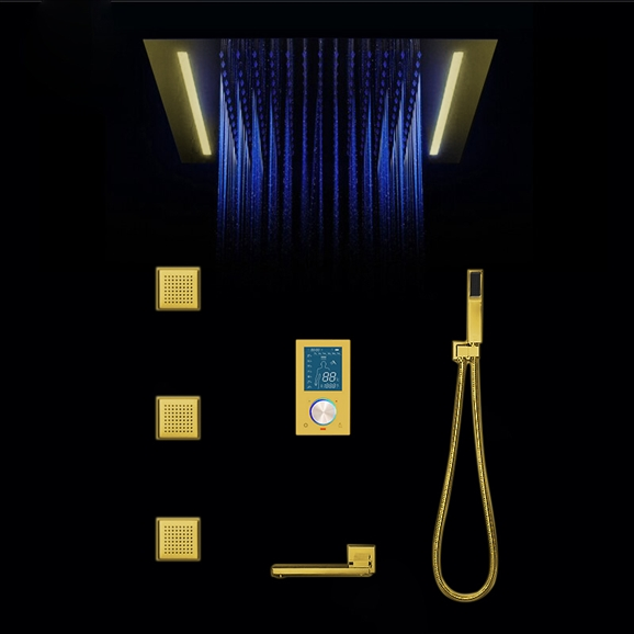 gold rain shower head. Gold Plated shower head multicolor led Multi Color Changing Stylish Solid Brass Shower Head
