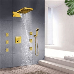 Leonardo Gold Finish Rainfall Waterfall Shower System Set