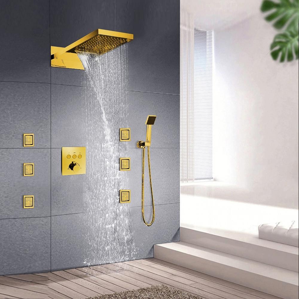 leonardo gold tone shower system