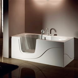 BathSelect Cairo Acrylic Freestanding Walk-in Glass Door Tub