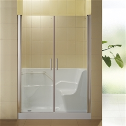 BathSelect Milan Acrylic Glass Door Shower Enclosure Walk-in Tub