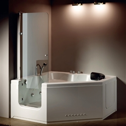BathSelect Genoa 1.35m High Glass Door Walk-in Bathtub Shower