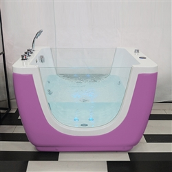BathSelect Trieste Freestanding Mini Acrylic With Led Light Baby Bathtub