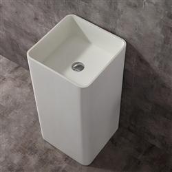 Cube Shaped Freestanding Pedestal Solid White Bathroom Sink