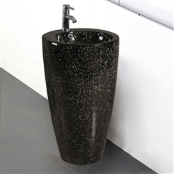 Crimea Shiny Black Marble Ceramic Bathroom Sink With Freestanding Faucet