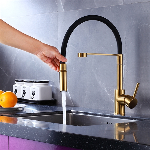 Gold Kitchen Faucet Sale Reno Goose Neck Deck Mount Kitchen Sink Faucet Single Lever In Black And Gold Finish With Pull Out Sprayer