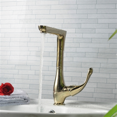 Havana  Long Neck Deck Mount Brushed Gold Finish Single Lever Sink Faucet