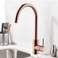 Leo Goose Neck Deck Mount Single Handle Faucet In Rose Gold Finish