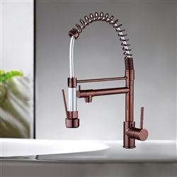 Rio Pull Out Spring Kitchen Sink Faucet Mixer In Rose Gold Finish