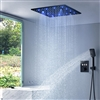 Lima Solid Brass 16 Inch Thermostatic LED Shower System Set In Dark Oil Rubbed Bronze Finish With 3 Way Mixer Valve And Handheld Shower