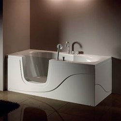 Frame-less Open Component Glass Cabin With Solid White Acrylic Walk-in Tub