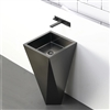 BathSelect Crimea Solid Brass Freestanding Cuboid Shape Bathroom Pedestal Sink In Dark Oil Rubbed Bronze Finish