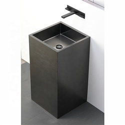 BathSelect Cube Shaped Solid Brass Freestanding Pedestal Bathroom Sink In Dark Oil Rubbed Bronze Finish