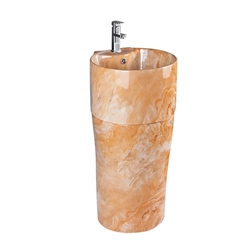 BathSelect Naples Freestanding Fancy Hand Wash Pedestal Light Brown Marble Design Sink & Faucet