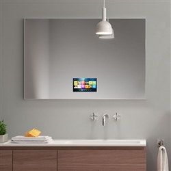 BathSelect Wall Mount Rectangular Frameless Smart Television Mirror With Touchscreen LCD