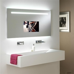 "BathSelect Tempered Glass Wall Mount Rectangular Smart Mirror With 65"" Full HD Touchscreen TV"