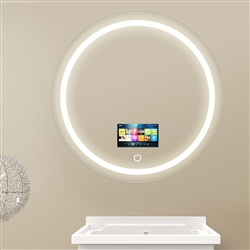 Round Tempered Glass Smart Television Mirror With Touchscreen Power Button And Frosted LED Lights