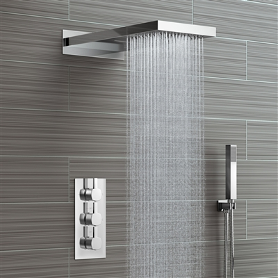 Leo Contemporary Style Chrome Finish Rain And Waterfall Shower Head With 3 way Mixer And Handheld Shower