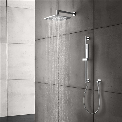 Luna Contemporary Style Chrome Finish Rain Square Shower Head With Handheld Shower