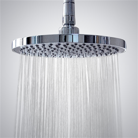 BathSelect Reno Stainless Steel Wall Mount Round Rainfall Shower Head In Chrome Finish