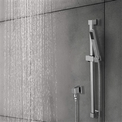 Luna Solid Brass Wall Mount Chrome Finish Handheld Shower Set