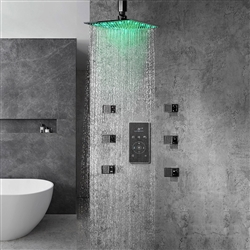 BathSelect  Multi Color LED Rain Shower Head With Thermostat LCD Digital Mixer And 360° Adjustable Body Jets
