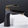 BathSelect Single Handle Polished Gold Long Reach Spout Black Painting Bathroom Faucet