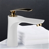 Lille Single Handle Long Reach Spout White & Gold Bathroom Faucet