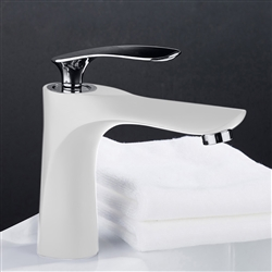 Reno Single Handle Long Reach Spout White & Chrome Finish Bathroom Faucet