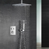 BathSelect Ceiling Mount Rainfall Shower Head With Handheld Spray And Dual Function Thermostatic Mixer In Chrome Finish