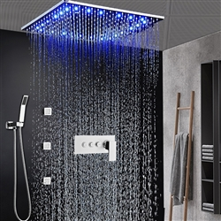 BathSelect Milan 20 Inch LED Shower Head With Handheld Spray And Three Function Mixer In Chrome Finish