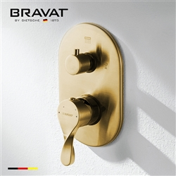 Bravat Wall Mount Brushed Gold Dual Handle Thermostatic Shower Mixer