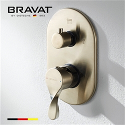 Bravat Wall Mount Brushed Nickel Dual Handle Thermostatic Shower Mixer