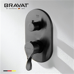 Bravat Wall Mount Dual Handle Thermostatic Shower Mixer In Dark Oil Rubbed Bronze Finish