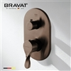 Bravat Wall Mount Dual Handle Thermostatic Shower Mixer In Light Oil Rubbed Bronze Finish
