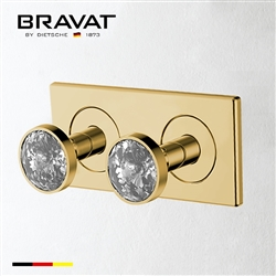 Bravat Two Crystal Handle Thermostatic Bathroom Shower Mixer In Brushed Gold Finish