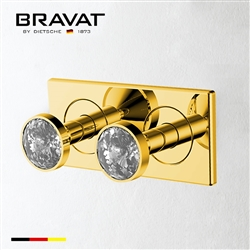 Bravat Two Crystal Handle Thermostatic Bathroom Shower Mixer In Gold Finish