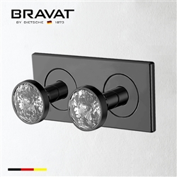 Bravat Wall Mount Two Crystal Handle Thermostatic Bathroom Shower Mixer In Dark Oil Rubbed Bronze Finish