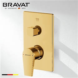 Bravat 2-Way Concealed Wall Mount Shower Valve Mixer In Brushed Gold Finish