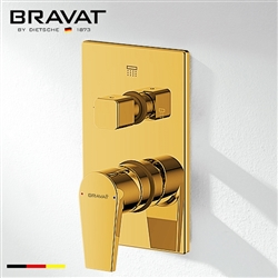 Bravat 2-Way Concealed Wall Mount Shower Valve Mixer In Gold Finish