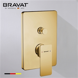 Bravat Solid Brass Square Shower Mixer Control Valve In Brushed Gold Finish