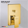 Bravat Solid Brass Square Shower Mixer Control Valve In Gold Finish