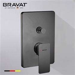 Bravat Solid Brass Square Shower Mixer Control Valve In Dark Oil Rubbed Bronze Finish